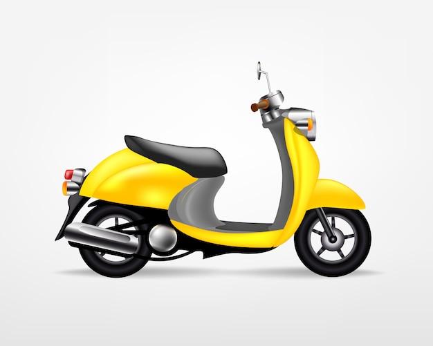 Motorino elettrico giallo d'avanguardia, su fondo bianco. moto elettrica, modello per il marchio e la pubblicità.