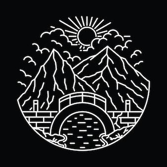 Mountain camp hike nature wild line illustrazione grafica art t-shirt design
