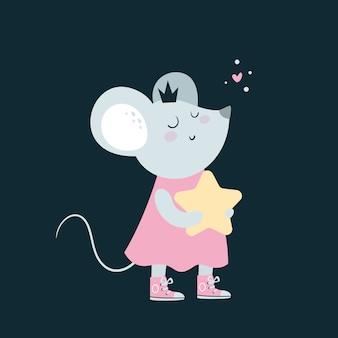 Mouse adorabile sveglio dei topi del bambino con la stella.