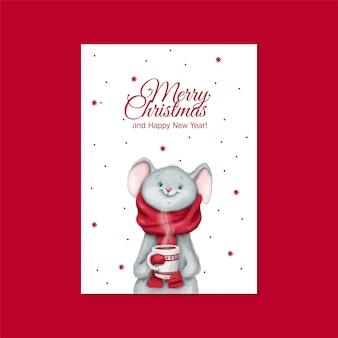 Mouse carino con una carta tazza