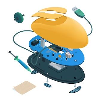 Mouse del computer smontato isometrico.