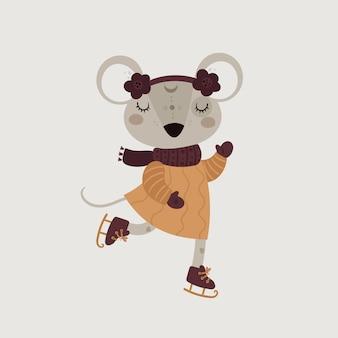 Mouse di topi simpatico cartone animato. simbolo del nuovo anno