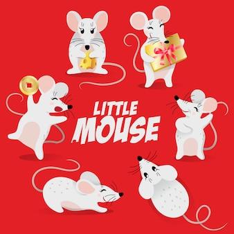 Mouse impostato per il nuovo anno cinese