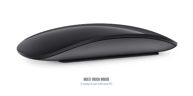 Mouse per computer colore nero su sfondo bianco.