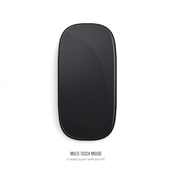 Mouse per la vista superiore di colore nero del computer isolato