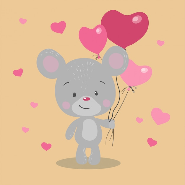 Mouse simpatico cartone animato con palloncini a forma di cuore per san valentino.