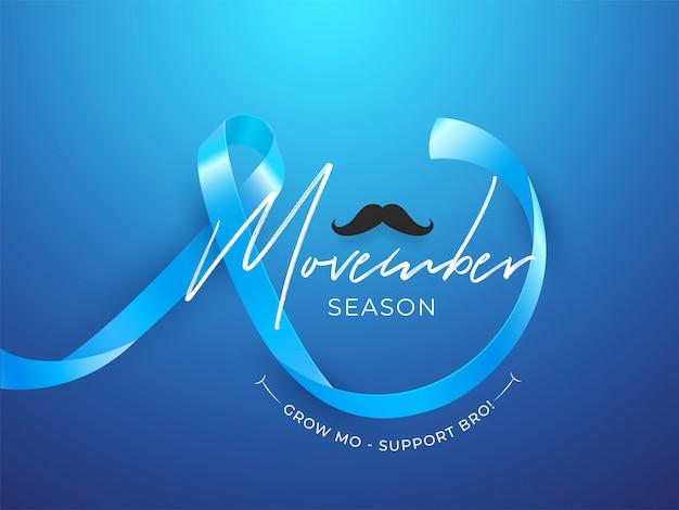 Movember season design con nastro e baffi aids