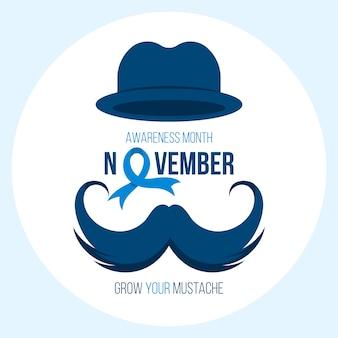 Movember senza barba con cappello e baffi
