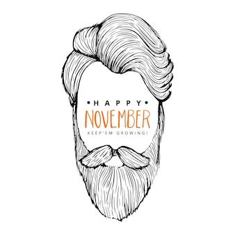 Movember sfondo felice di uomo con stile a vita bassa