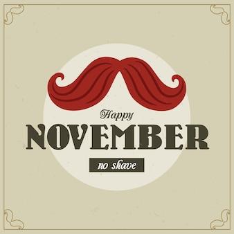 Movember vintage senza sfondo di rasatura