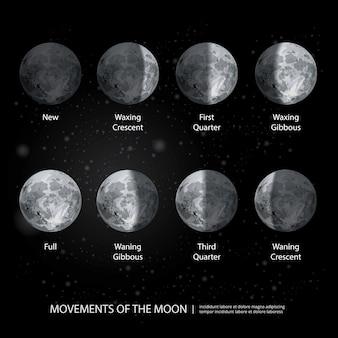Movimenti dell'illustrazione realistica di vettore di fasi lunari