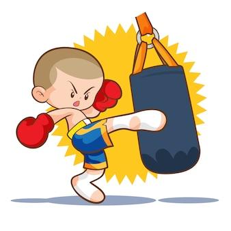 Muaythai sandbag kick boxing