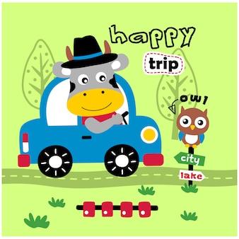 Mucca alla guida di un cartone animato divertente animale