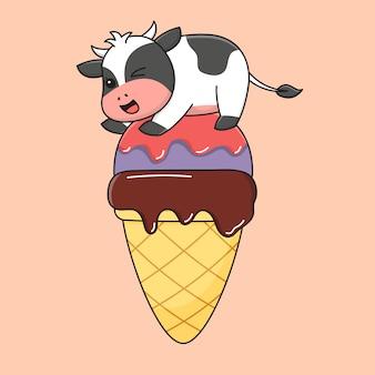 Mucca carina gelato
