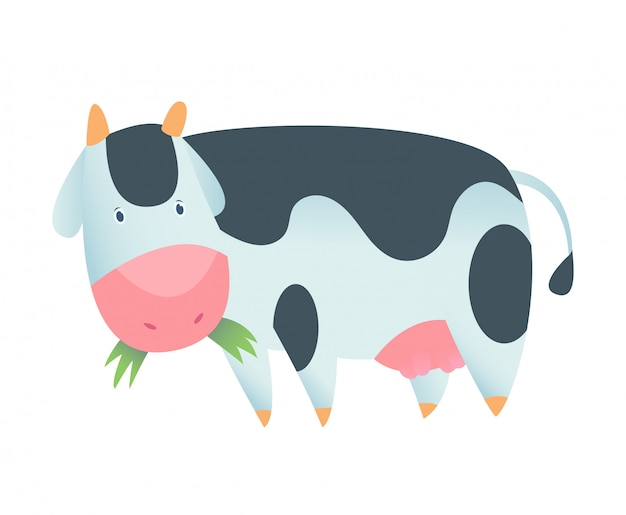 Mucca carina in stile piano isolato. illustrazione vettoriale mucca del fumetto
