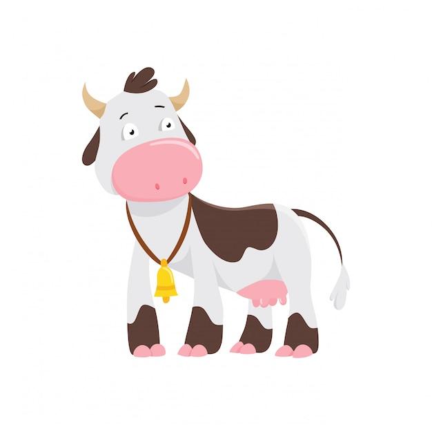 Mucca carina in stile piano isolato su priorità bassa bianca