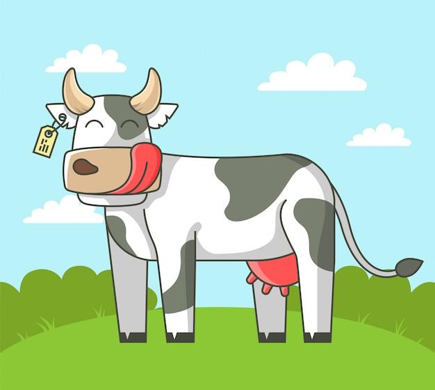 Mucca carina si trova sul campo nel villaggio. illustrazione