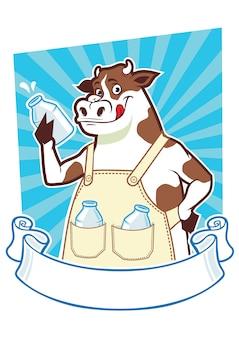 Mucca che tiene una bottiglia di latte