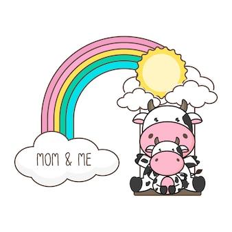 Mucca e bambino oscillano su un arcobaleno. illustrazione vettoriale di carta festa della mamma