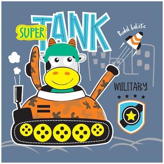 Mucca e super carro armato animale divertente cartone animato, illustrazione