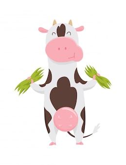 Mucca macchiata sveglia che mangia erba, personaggio dei cartoni animati divertente dell'animale da allevamento