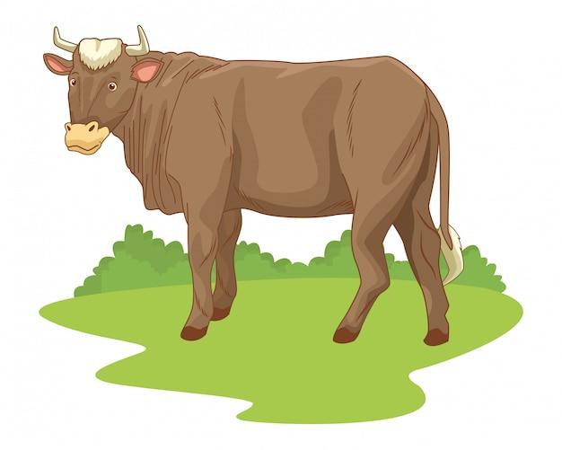 Mucca nel fumetto di paesaggio della natura
