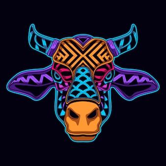 Mucca nello stile di arte di colore al neon