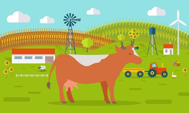 Mucca sul concetto di cortile