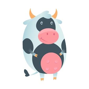Mucca sveglia nello stile piano isolata su fondo bianco