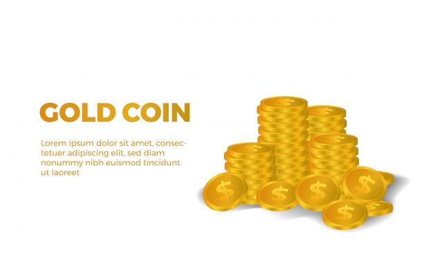 Mucchi di molta illustrazione dorata dei soldi del dollaro 3d brillante