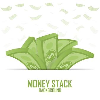Mucchi di pila di soldi, dollaro in contanti sul modello bianco