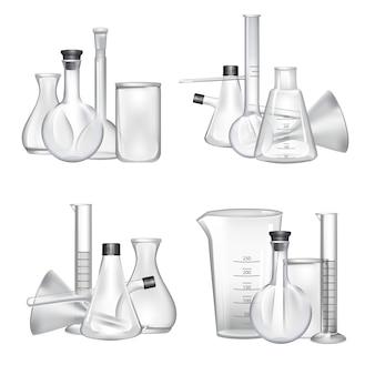Mucchi di set di tubi di vetro di laboratorio chimico. illustrazione esperimento di tubo di vetro e laboratorio