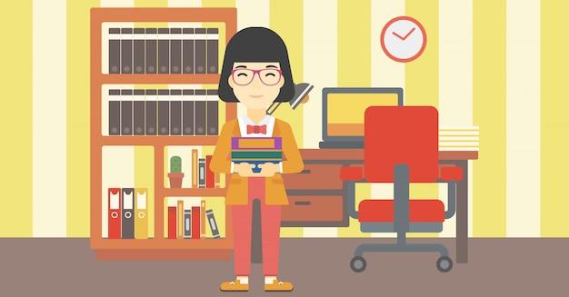 Mucchio della tenuta della donna dell'illustrazione di vettore dei libri.