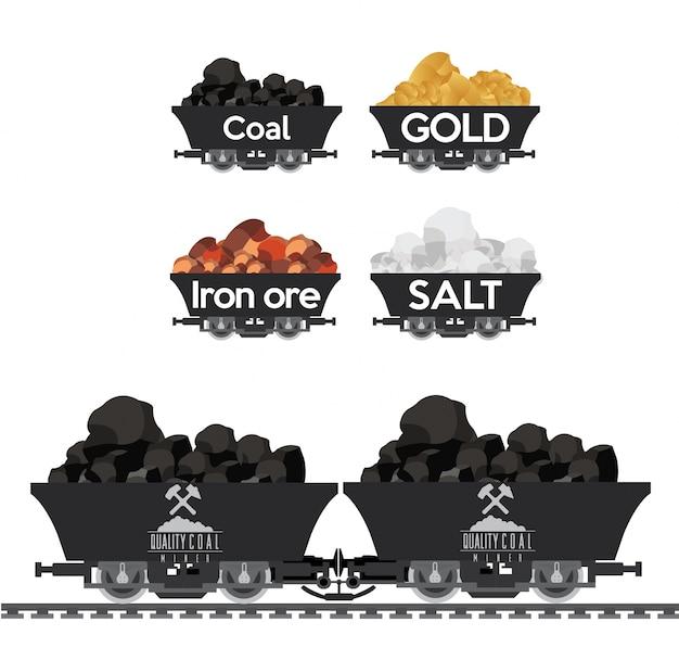 Mucchio di carbone e altri fossili