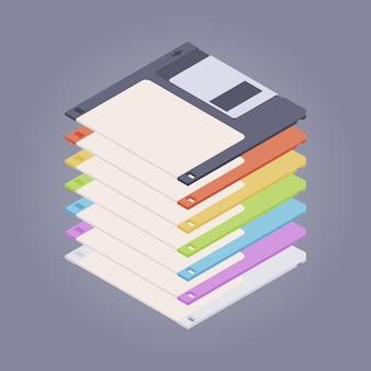 Mucchio di floppy disk colorati, dischetti