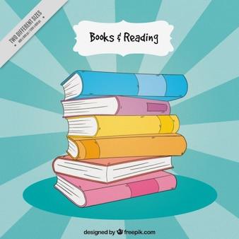 Mucchio di libri disegnati a mano sfondo