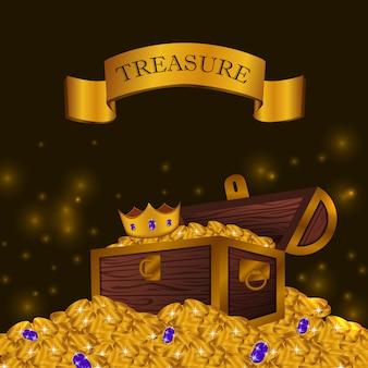 Mucchio di monete d'oro con scatola del tesoro con corona