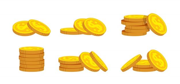 Mucchio di monete d'oro insieme del fumetto. mucchi di denaro pulito, mucchio di monete d'oro bunche varie