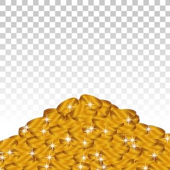 Mucchio di monete d'oro lucido
