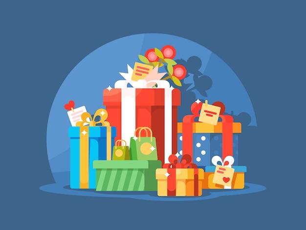 Mucchio di scatole regalo per natale o vacanze di compleanno. illustrazione