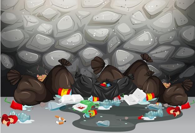 Mucchio di spazzatura sul pavimento