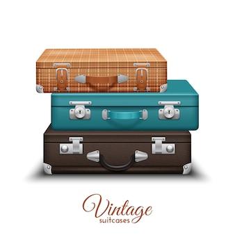 Mucchio di vecchie valigie di viaggio vintage impostato