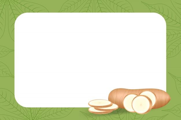Mucchio yucca manioca tubero sul telaio
