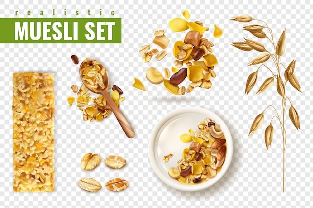 Muesli realistico sul set trasparente con immagini isolate di diffusione di cereali e barre con testo
