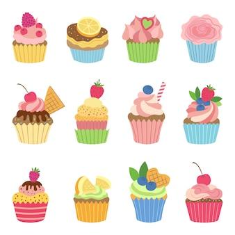 Muffin alla vaniglia e cupcakes al cioccolato. illustrazione vettoriale in stile piatto