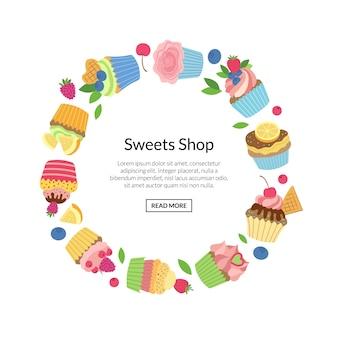 Muffin simpatici cartoni animati o cupcakes isolato