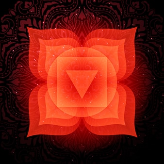 Muladhara chakra con mandala. chakra della radice