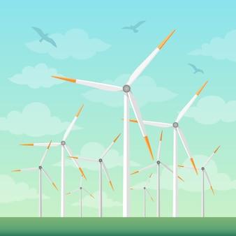 Mulini a vento sull'illustrazione verde di vettore dei campi