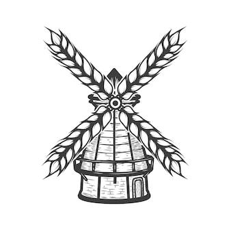 Mulino a vento con grano su fondo bianco. elementi per logo, etichetta, emblema, segno, marchio. illustrazione.