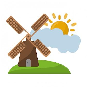 Mulino a vento sulla natura con nuvole e sole